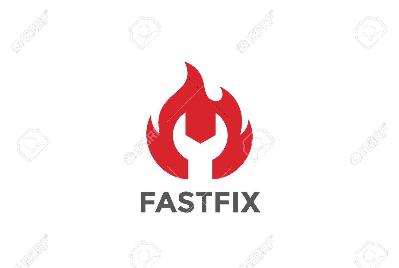 wrench in fire flame logo design vector template negative space rh 123rf com Car Repair Logo Vintage Spark Plug Wrench Logo