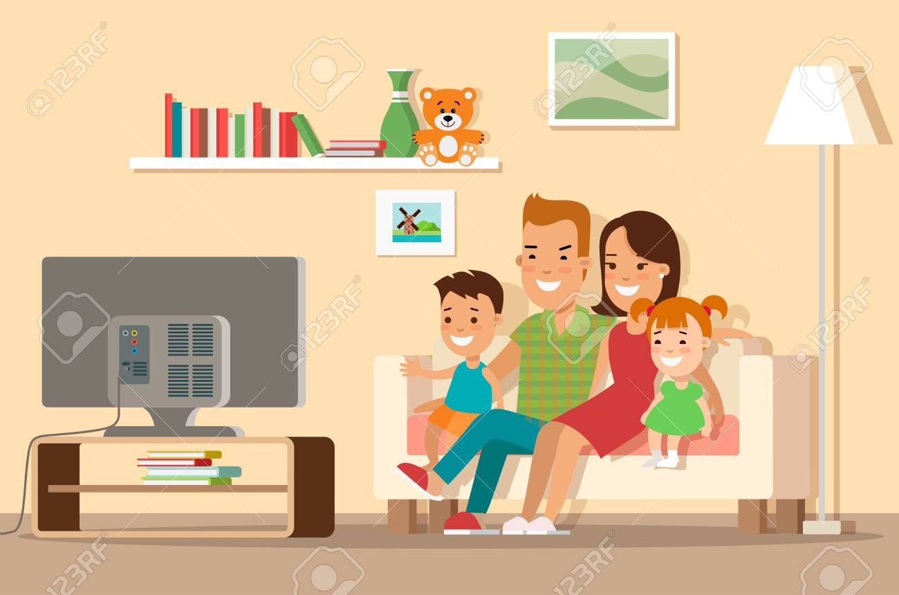 Flat Happy family watching TV vector illustration. Shopping concept. Living room interior with furniture, mom, dad, son and daughter characters. - 79638757