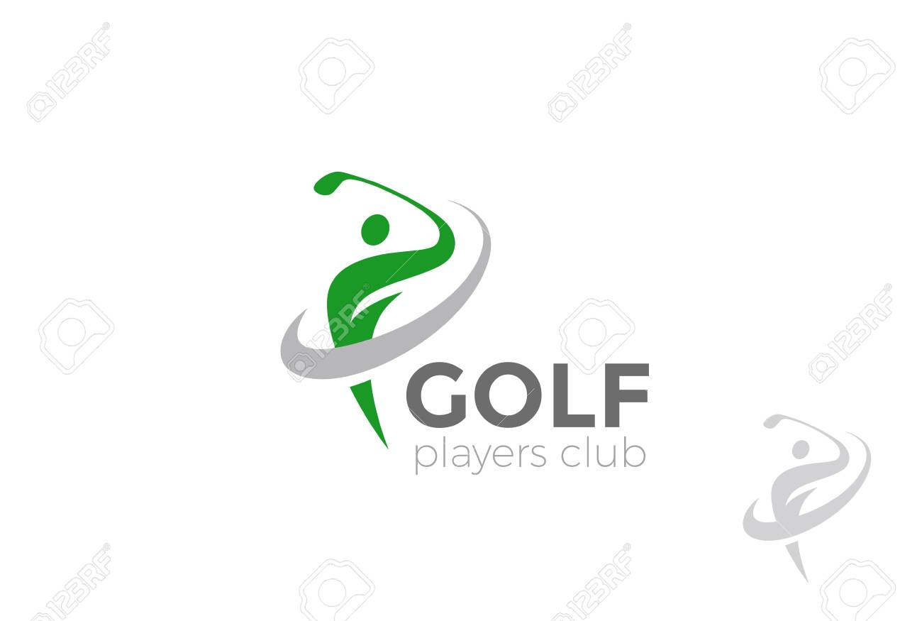Golf Player Hits The Ball Logo Design Vector Template Golf Royalty Free Cliparts Vectors And Stock Illustration Image 85879644