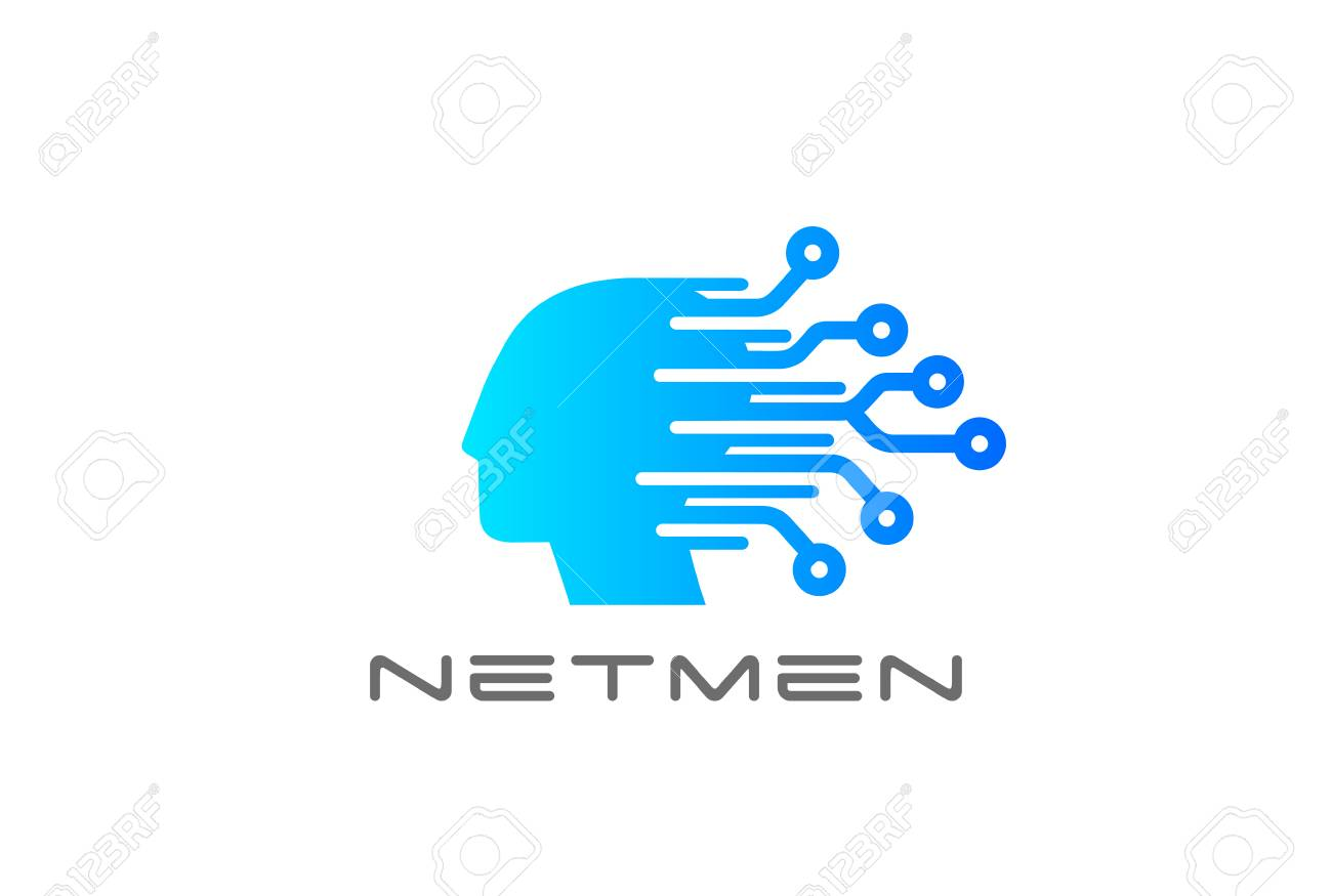 digital electronics chip human head logo design vector template