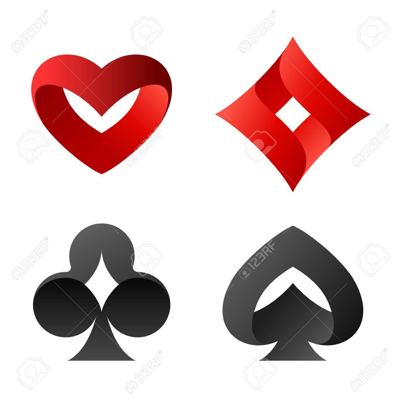 Playing cards vector symbols. Peaks spades, hearts, diamonds, cross Logos - 85873527
