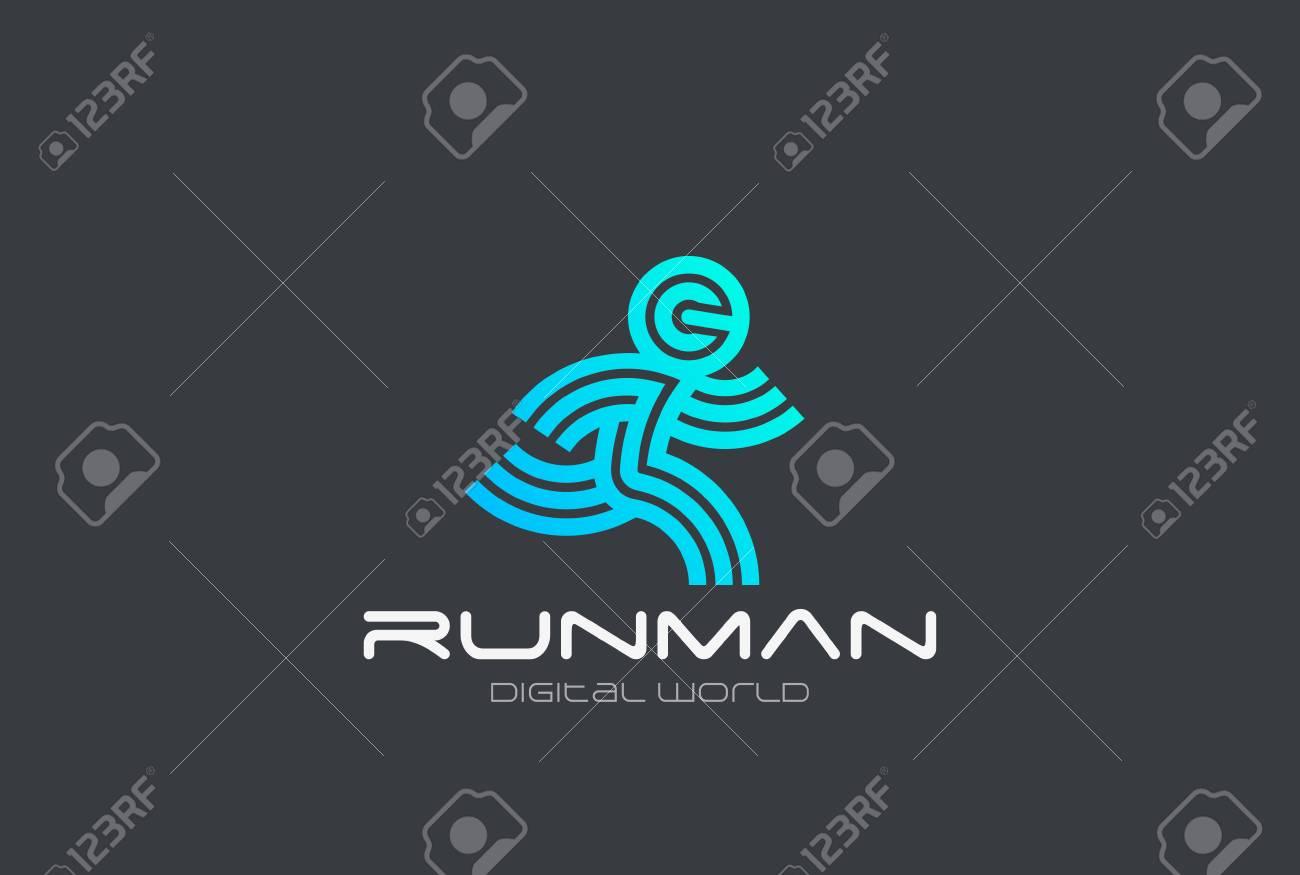 Foto de archivo - Running Man Sport Fitness Delivery Logo plantilla de  vector de diseño Estilo lineal 56dc060a3a4c4