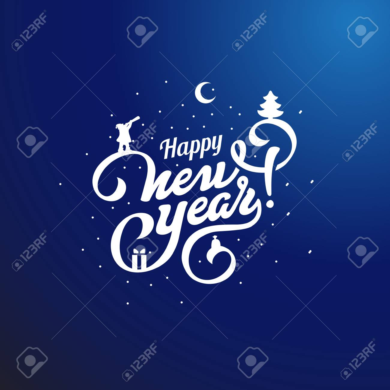 Feliz Año Nuevo Texto Letras Vector Composición Caligráfica ...