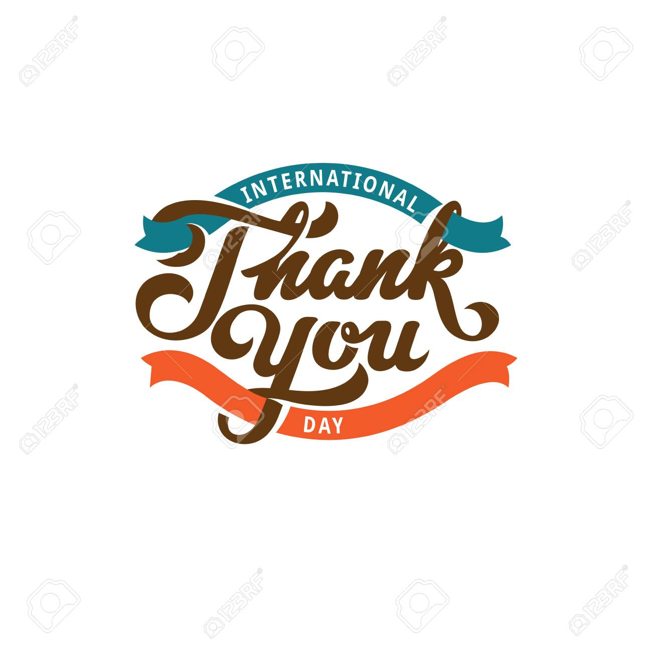 thank you text lettering calligraphic composition vector poster