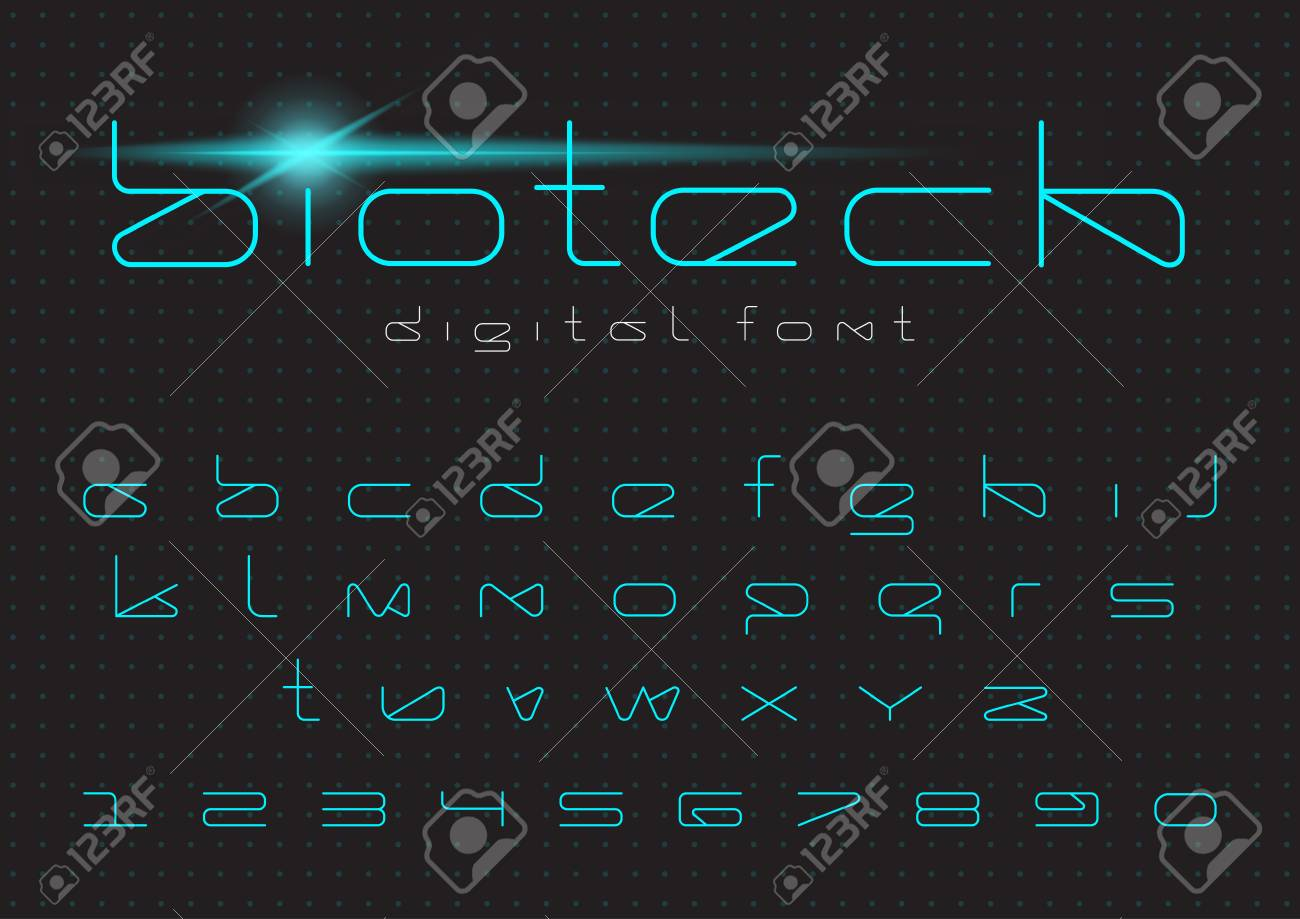 Futuristic Vector Font Design Digital Virtual Reality Technology