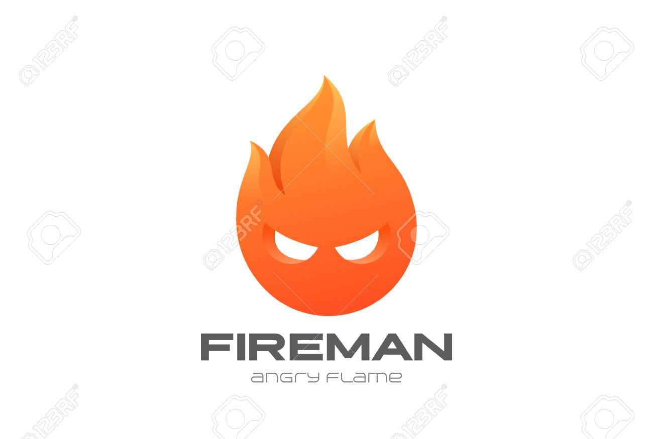 Fire Man Flame Circle Abstract Design Template. Royalty Free ...