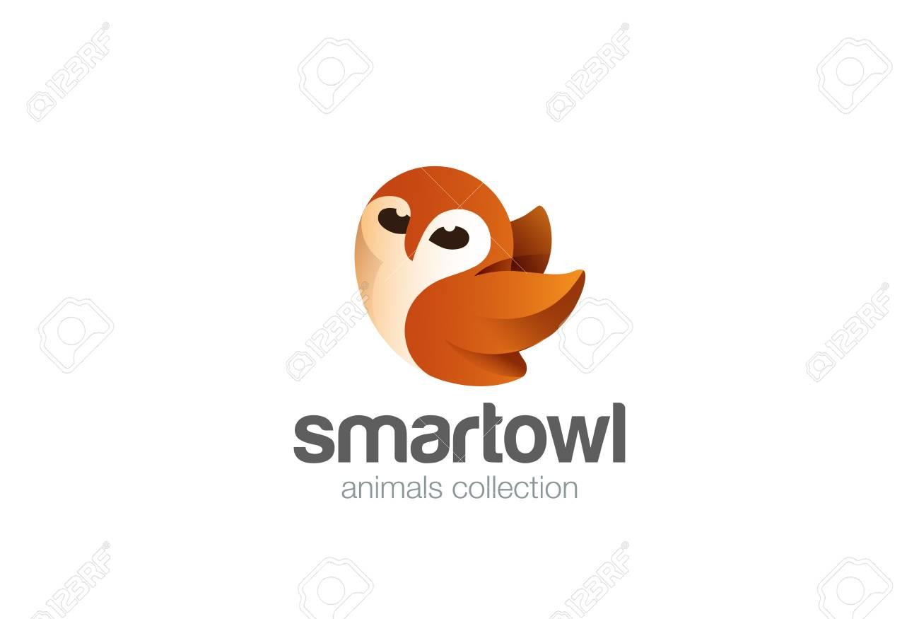 happy flying owl logo design vector template funny bird abstract