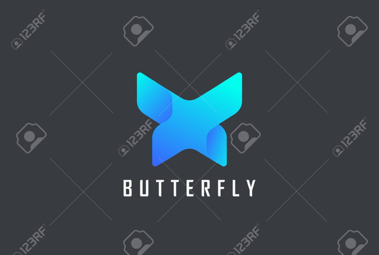Butterfly geometric design abstract Logo vector template. Letter X technology style Logotype concept icon - 103593155