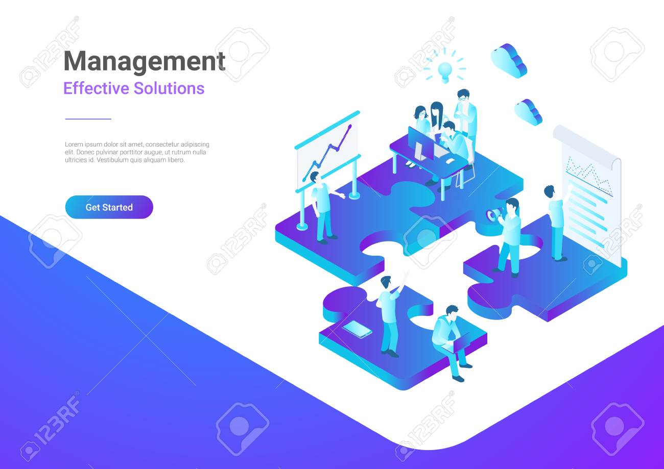 Isometric Flat vector Management Teamwork Business People on Puzzle parts. Finance Concept illustration - 102418370