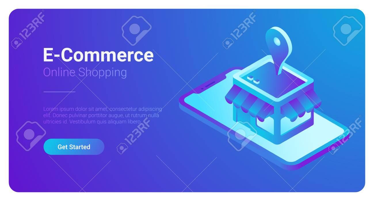 E-commerce isometric vector illustration. Web Shop Store in Smartphone - 102978279