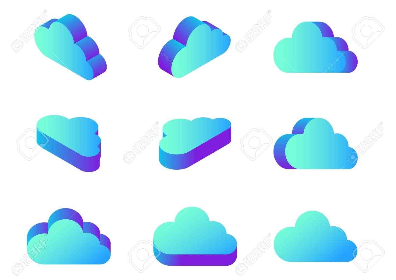 Isometric Flat Cloud Computing icons collection vector Design in different views - 103436895