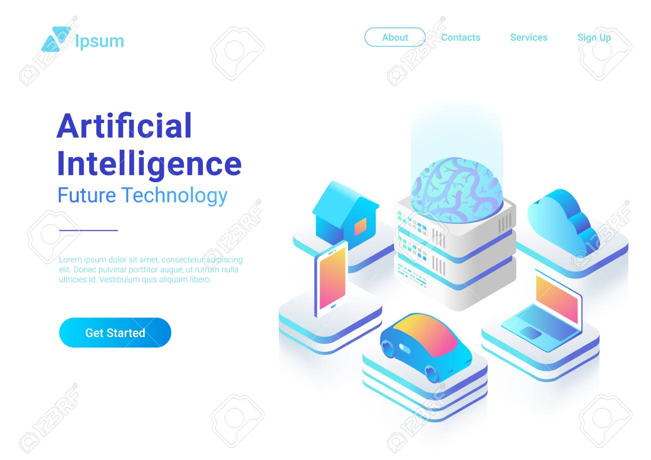 Isometric flat Artificial Intelligence digital Brain future technology colorful concept vector design. Laptop Electric Car Smartphone Brain House objects of AI - 104446861