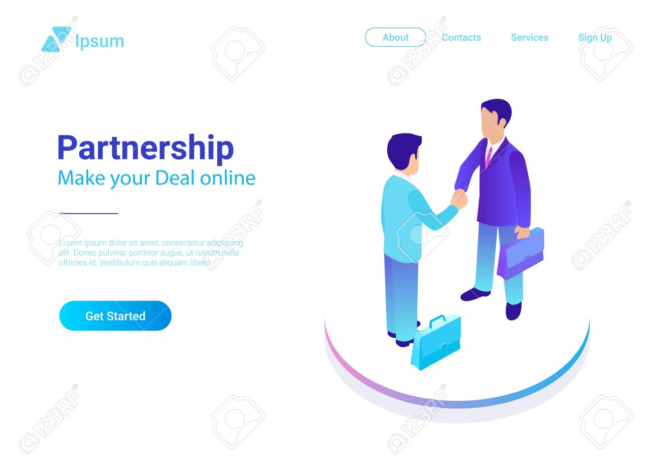 Isometric Flat two Businessmen making Deal vector illustration. People shaking hands making contract online. Partnership concept - 104446863