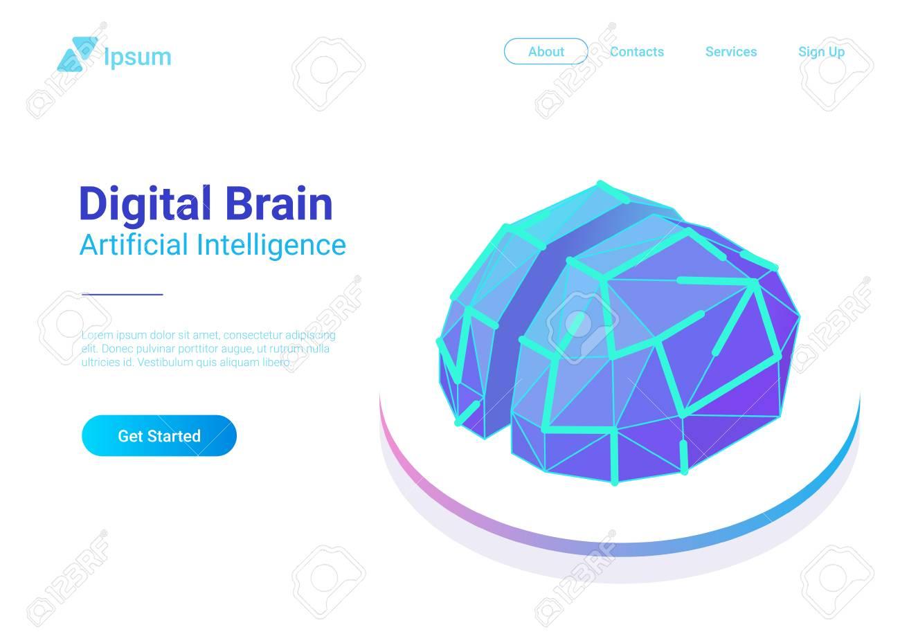 Digital Brain Isometric flat style vector design concept. Artificial intelligence technology AI illustration - 114968003