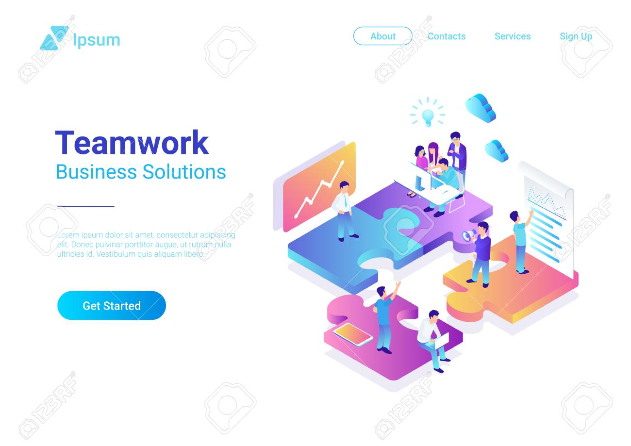 Isometric Flat vector Management Teamwork Business People on Puzzle parts. Finance Concept illustration - 114968008