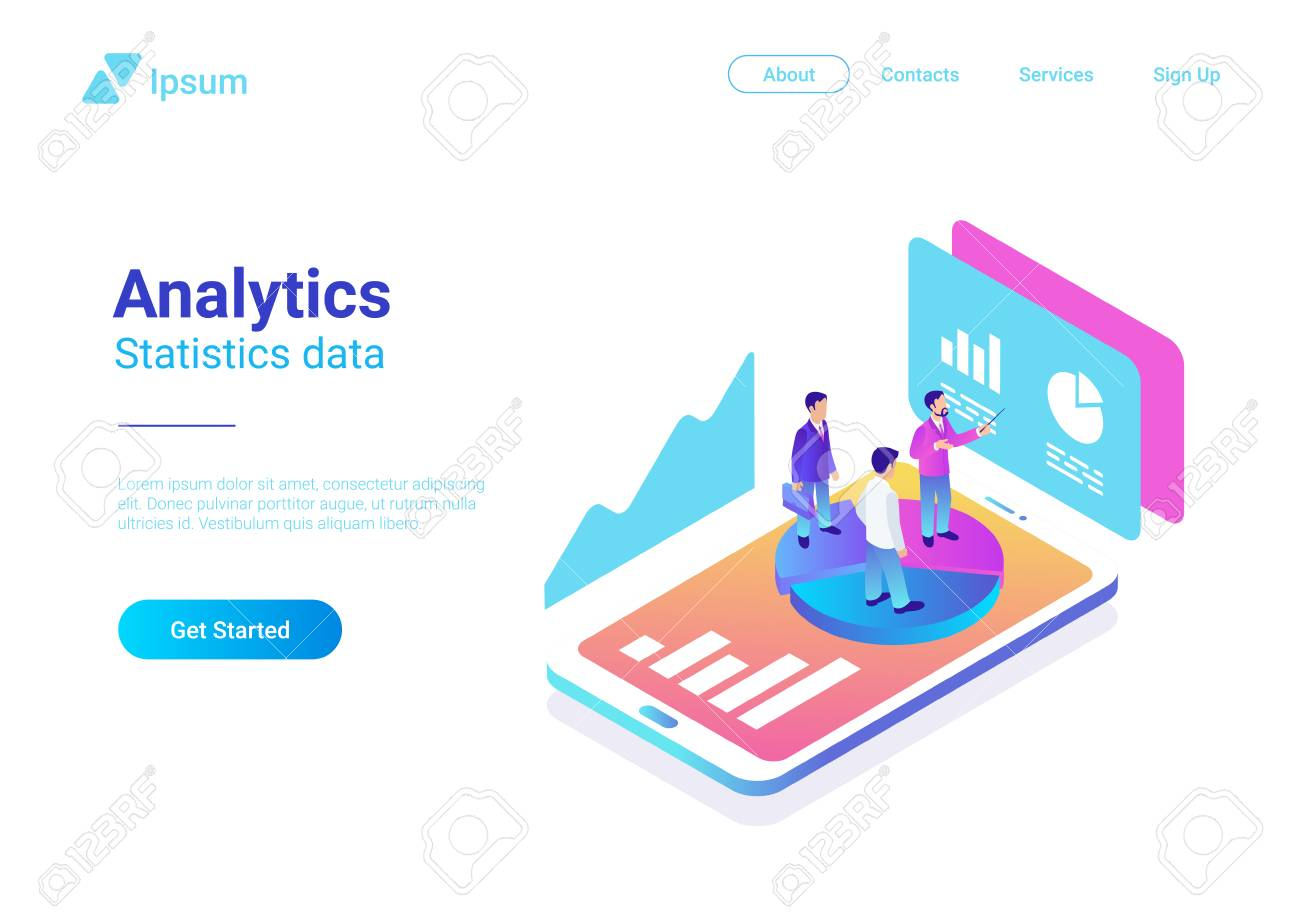 Isometric Flat Analytics Marketing Strategy Vector Illustration. People standing on Smartphone with Statistics Charts - 114968012