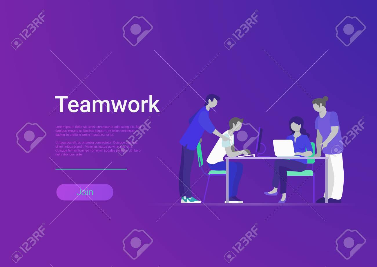 Flat style creative team web infographic vector. Business meeting room, report or presentation. Group of people sitting, looking to laptop. Teamwork and staff concept - 121329151