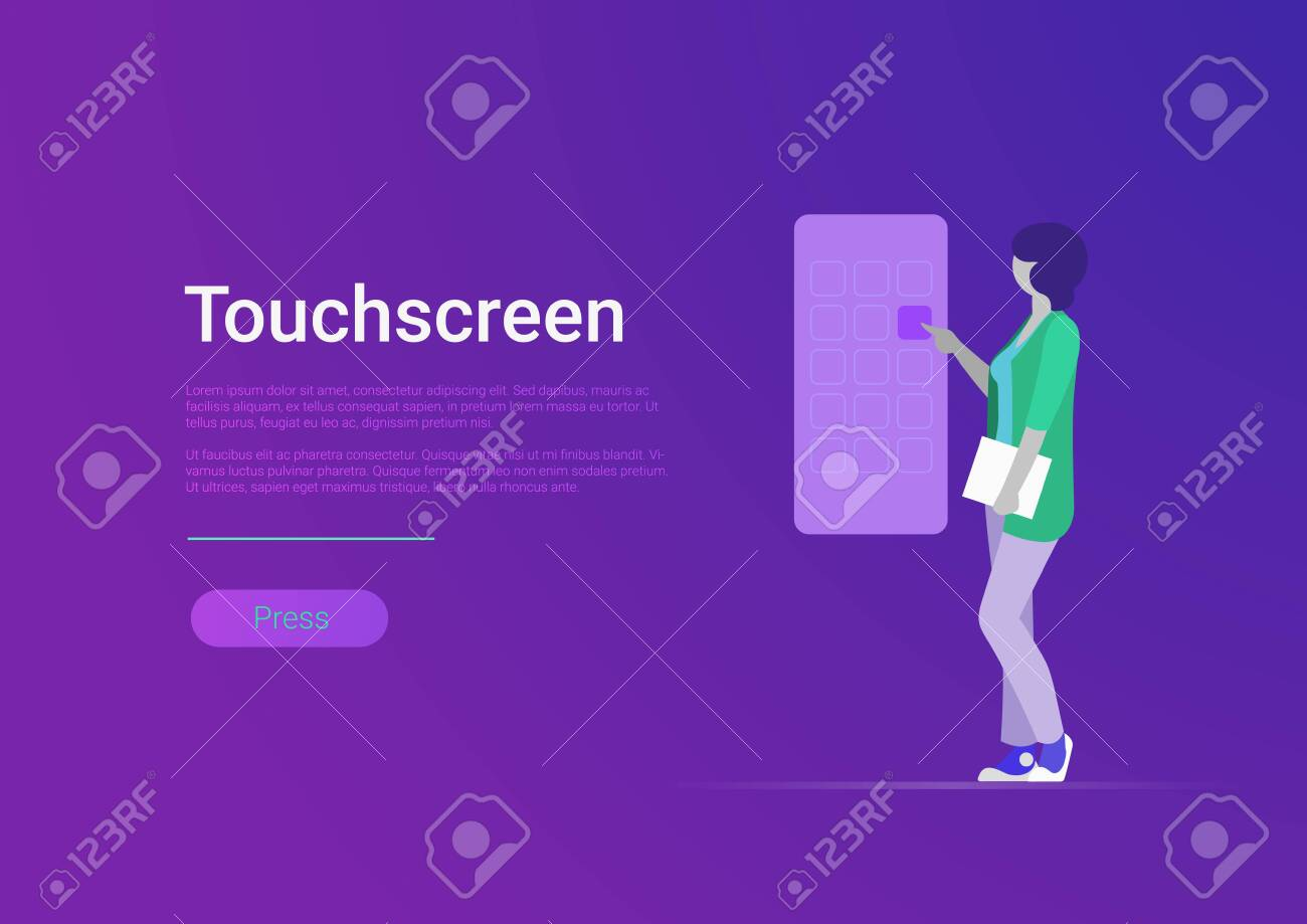 Flat style touchscreen vector illustration. Woman touching huge smartphone screen. Mobile phone application - 121329154