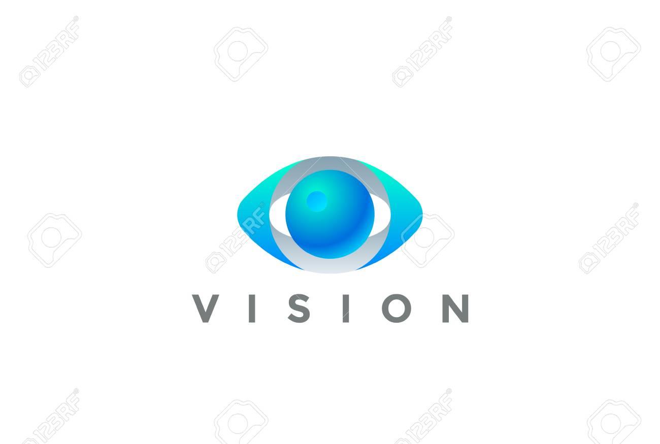 Eye Logo Vision 3D design vector template. Security Video Photo Optic Lens Spy Virtual Camera Logotype concept icon - 114979696