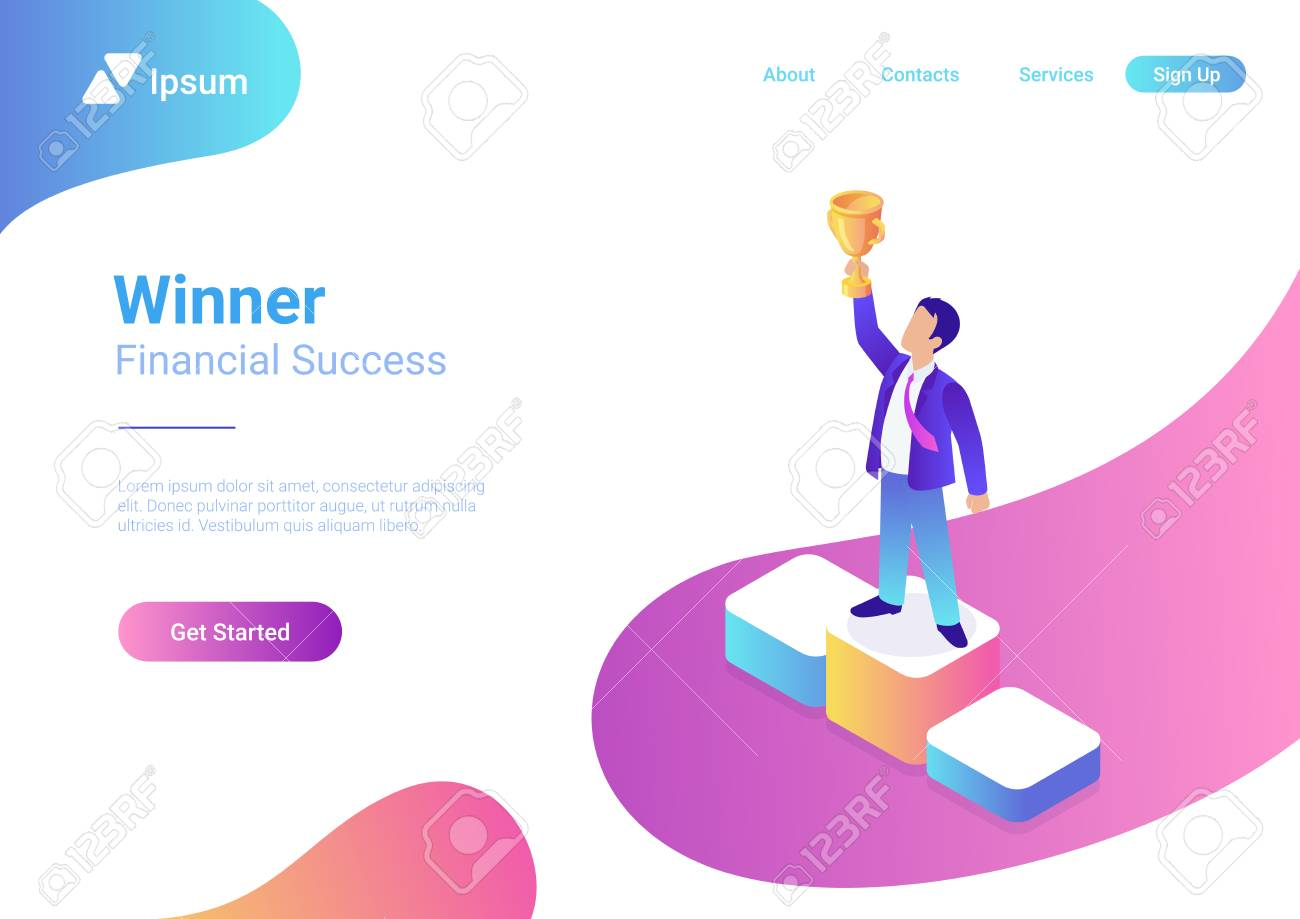 Business trophy rating award winner concept vector flat 3d web isometric infographic. Businessman on first place pedestal rising hand with gold cup - 117022996