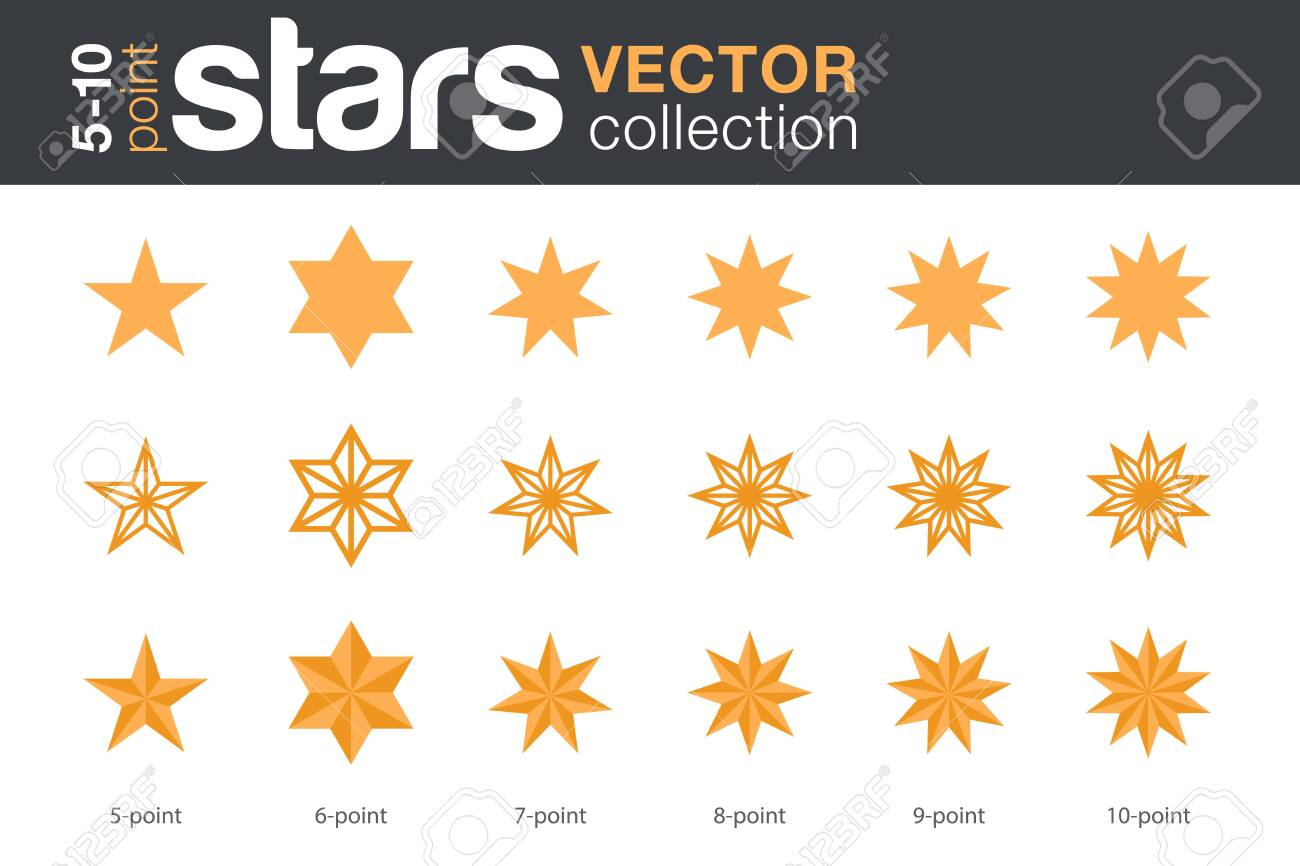 Stars Shapes Silhouettes Vector collection. 5, 6, 7, 8, 9, 10-point stars in three styles. - 129514385