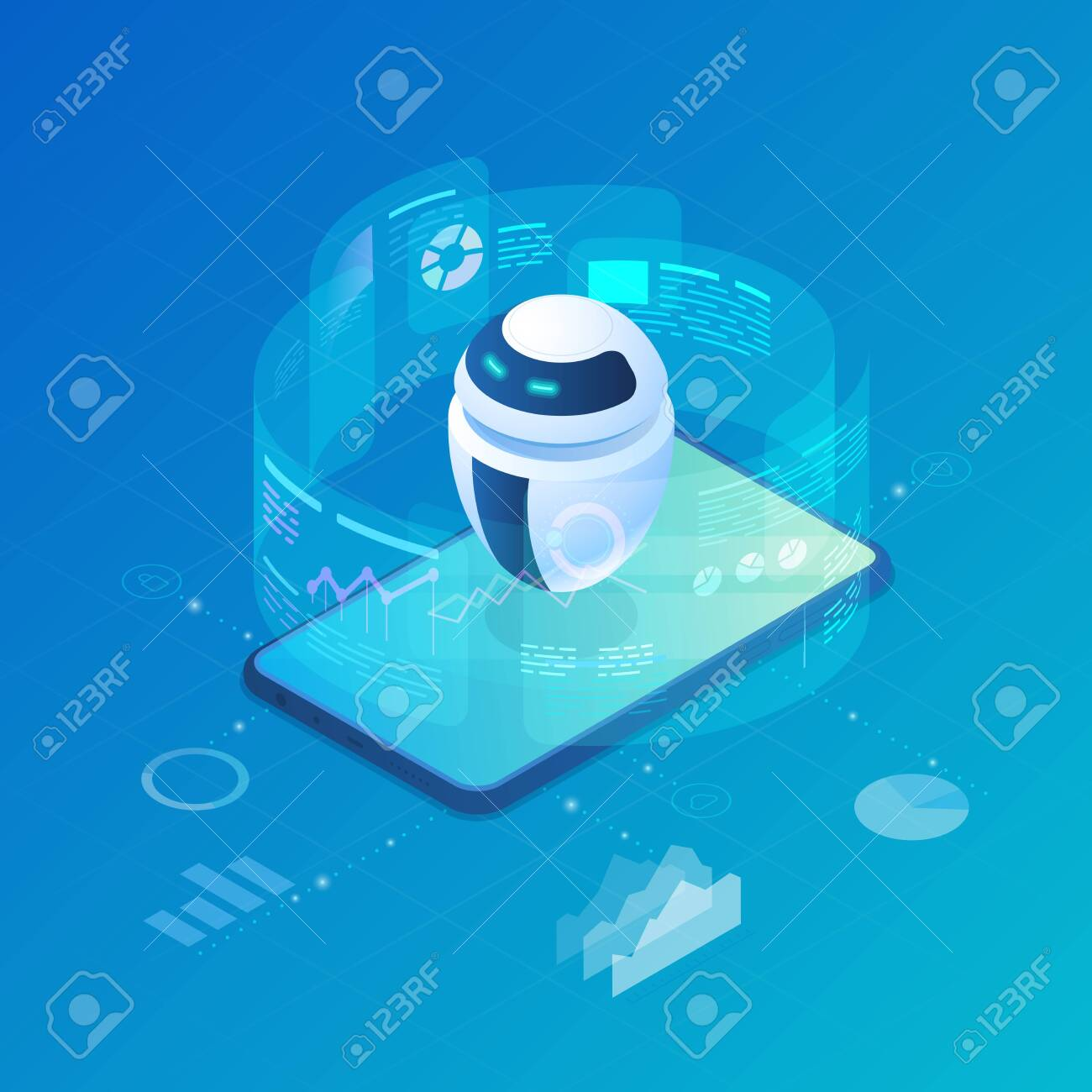 Isometric Robot Bot operating virtual HUD interface vector illustration. Artificial Intelligence, Automation Process Technology and engineering. - 129818429