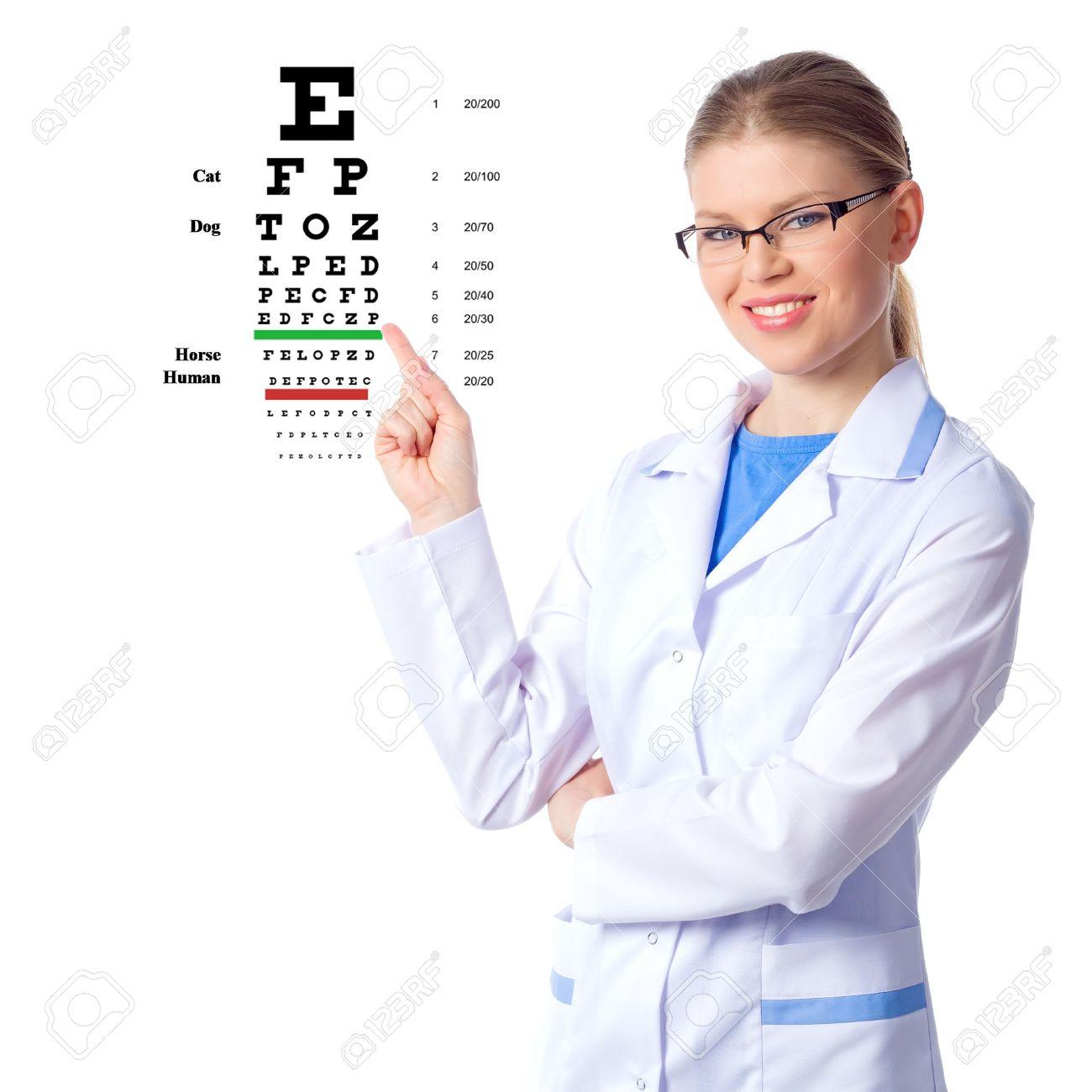 Optician, optometrist woman doctor, isolated on white Stock Photo - 19985812