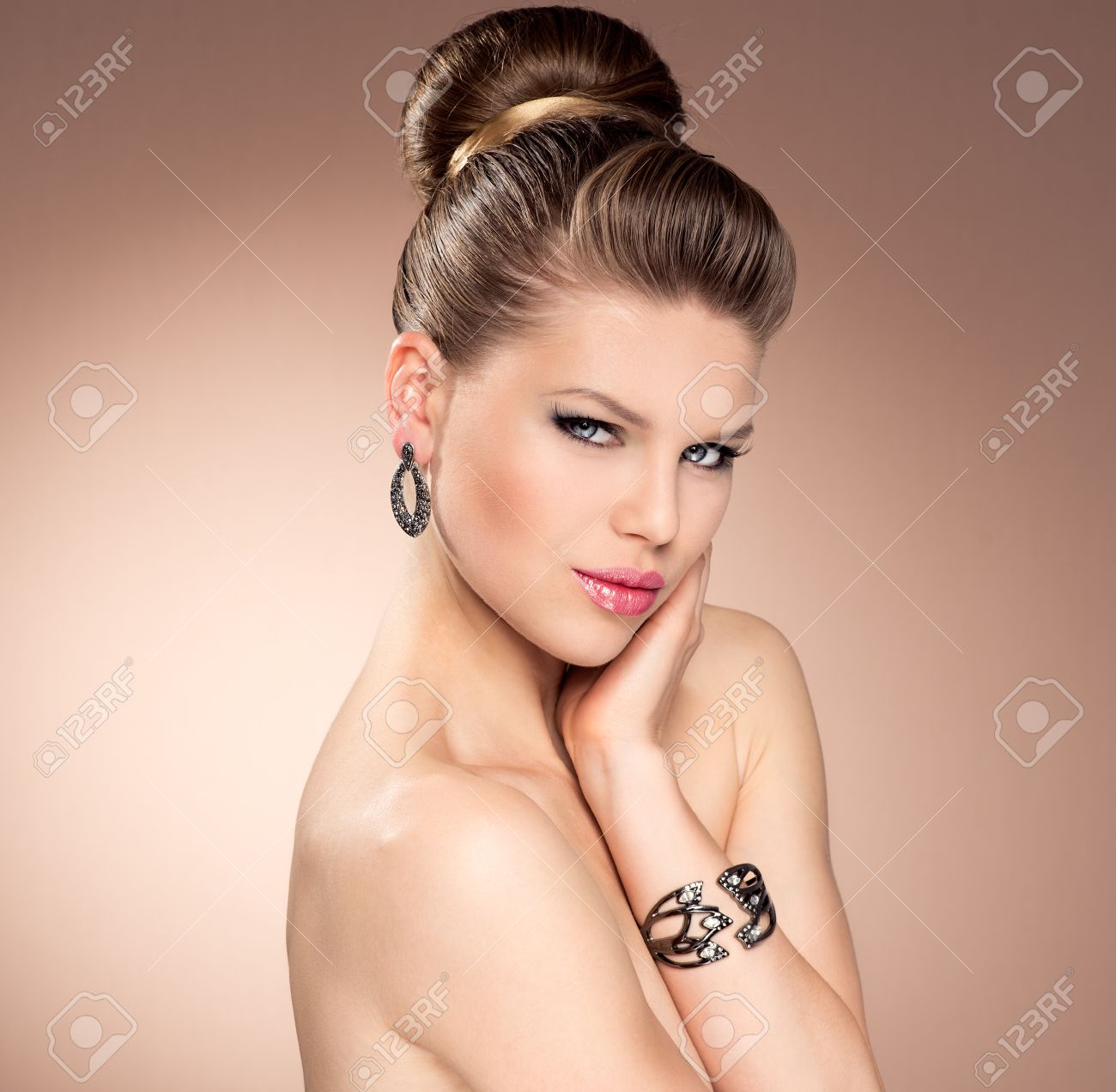 Vintage Style Beautiful Female With Retro Hairdo And Professional