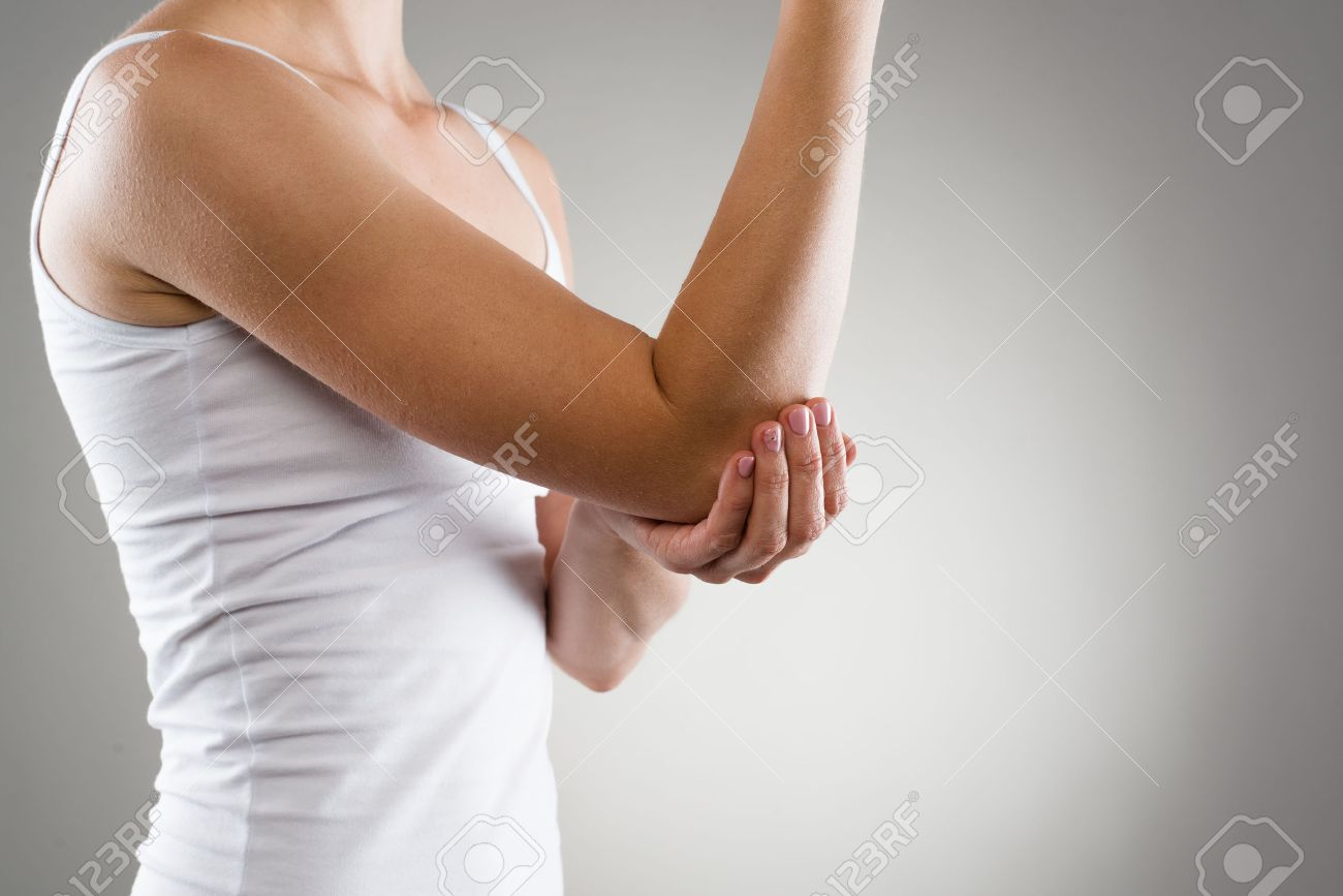Elbow Bone Fracture Female Having Pain In Injured Arm Stock Photo