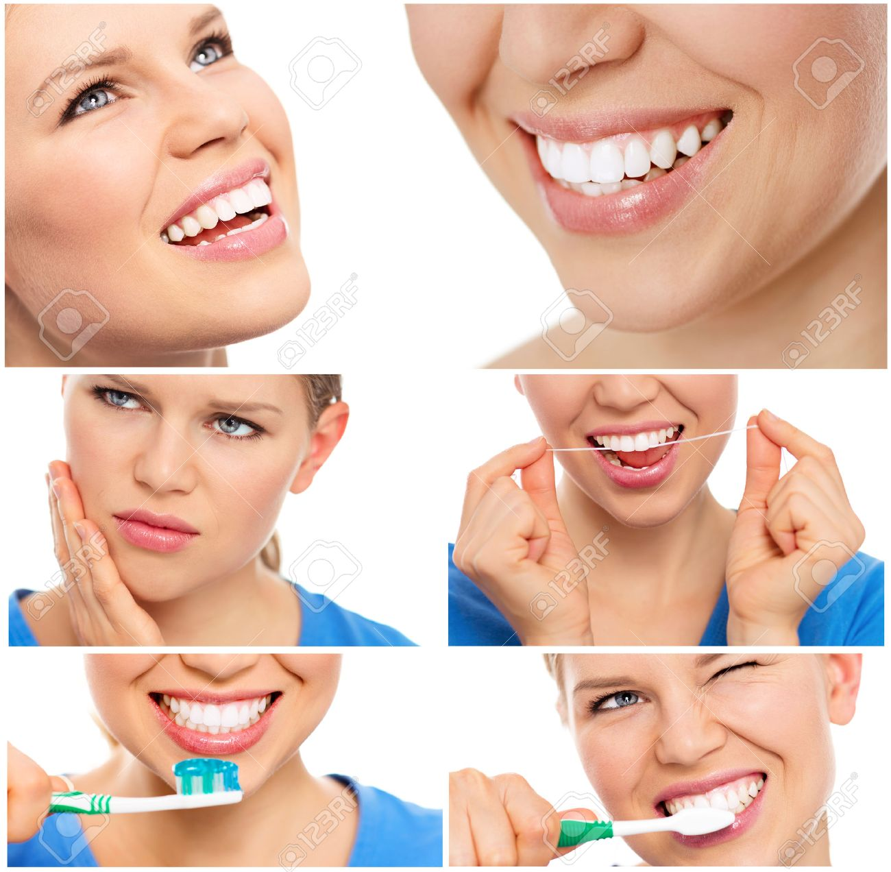 Teeth cure and care. Teeth bleaching. Collage of teeth protection female\\\\ - 39668280