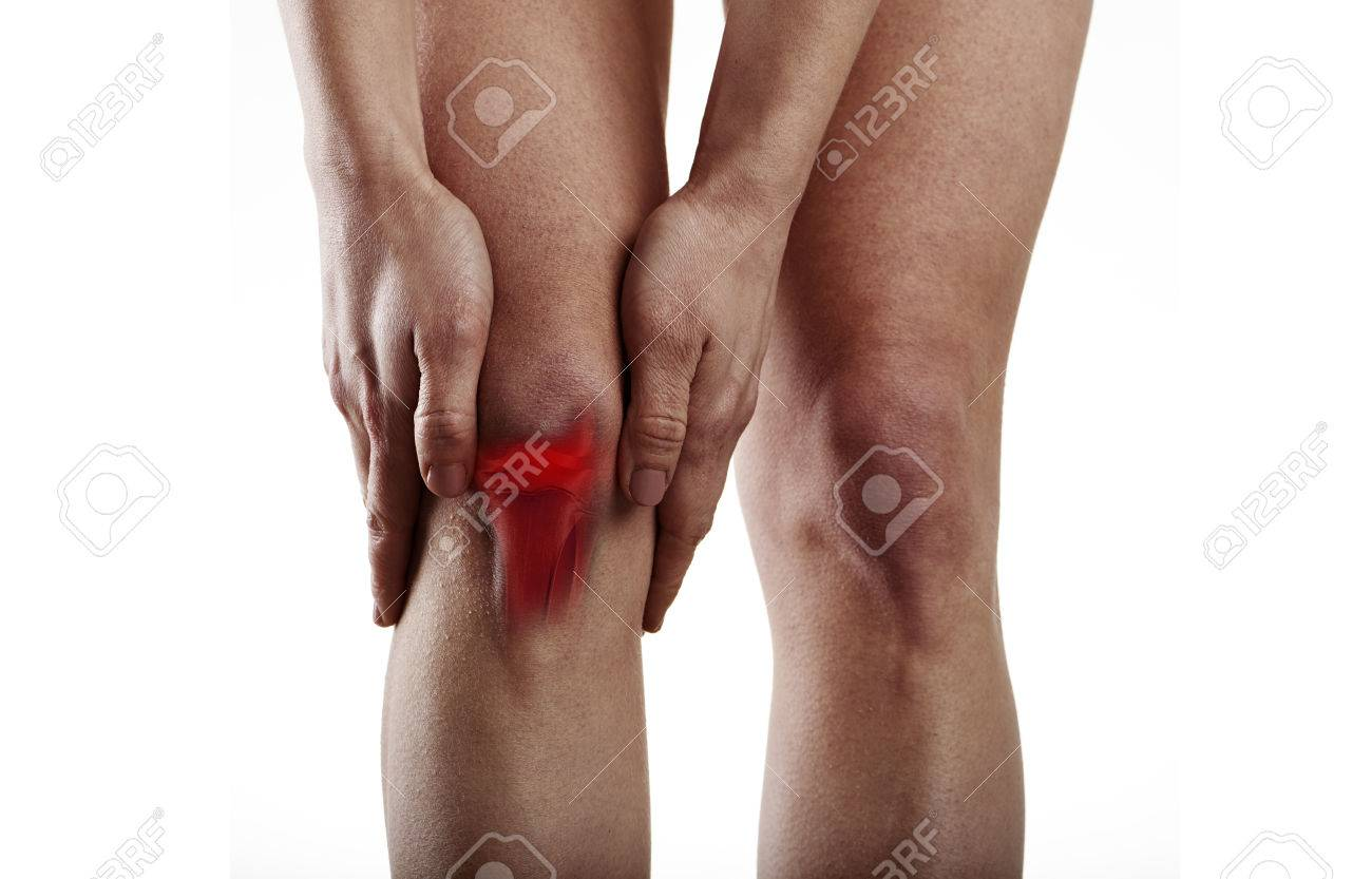 Woman Suffering From Knee Pain. Anatomy And Medicine Concept. Stock ...