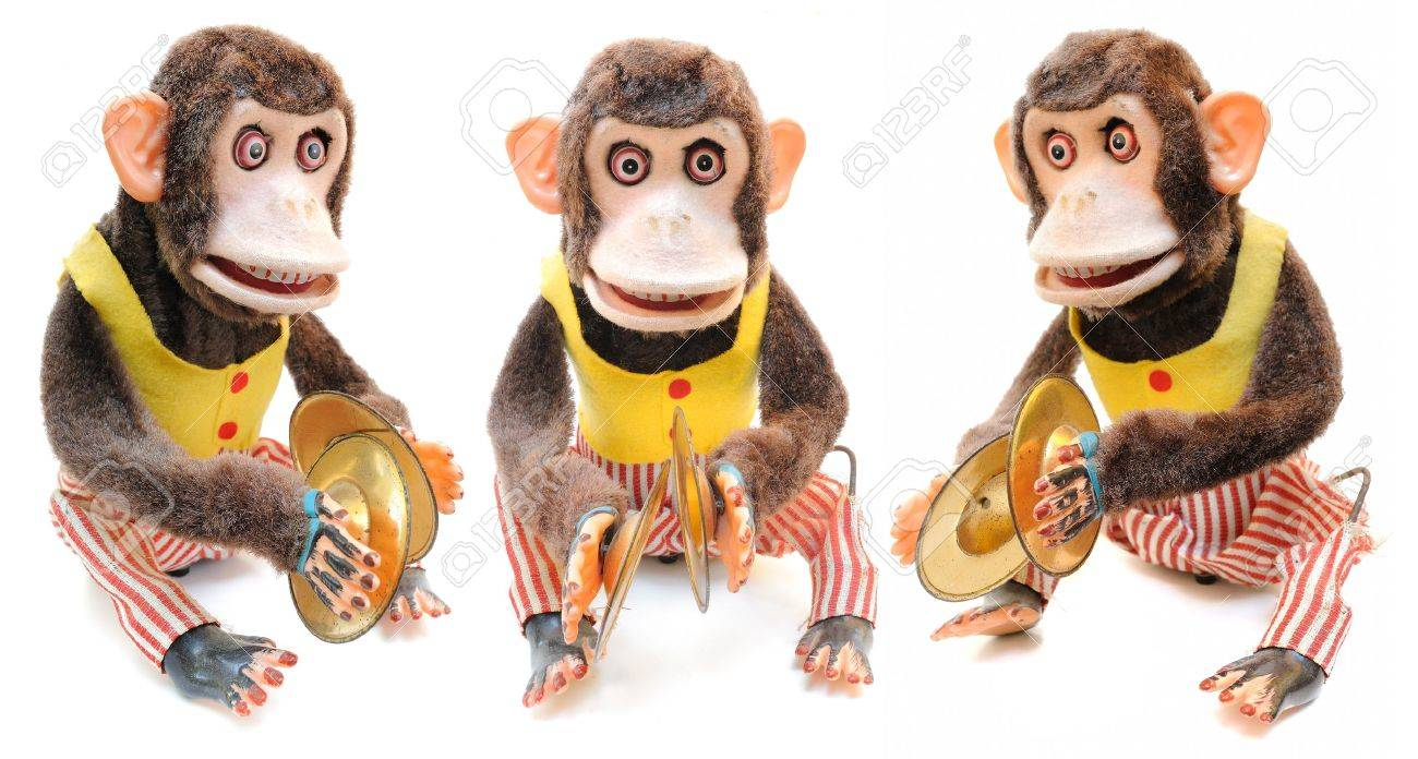 cymbals monkey with cymbals isolated on white
