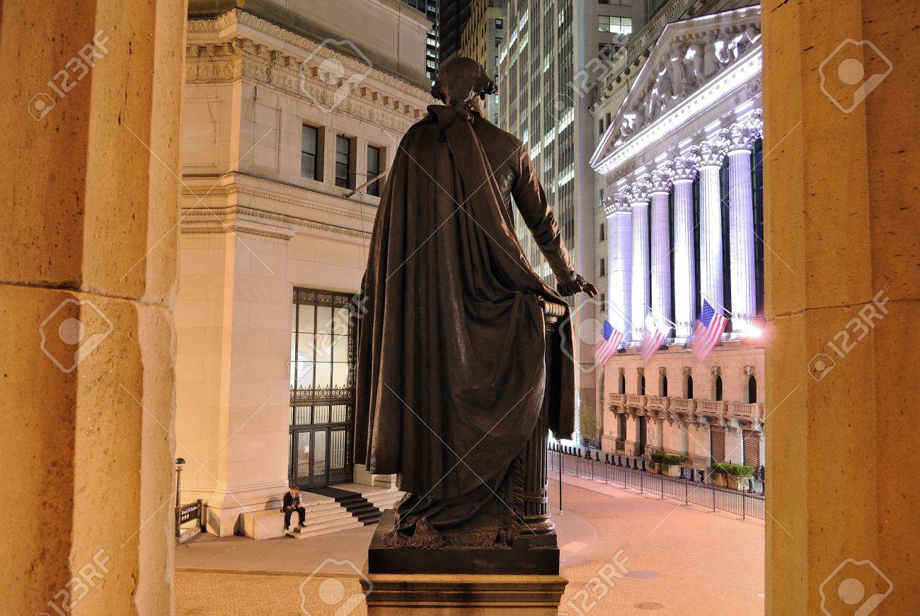 NEW YORK CITY - JUNE 22: Behind the George Washington Statue looking towards the New York Stock Exchange on Wall Street June 22, 2010 in New York, NY. Stock Photo - 8797058