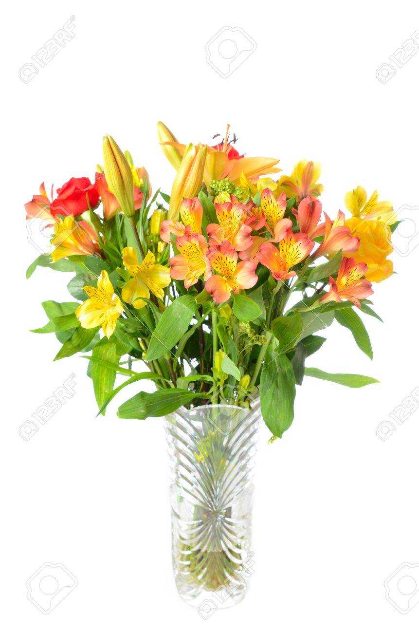 Beautiful Vase With Flower Arrangement Stock Photo Picture And