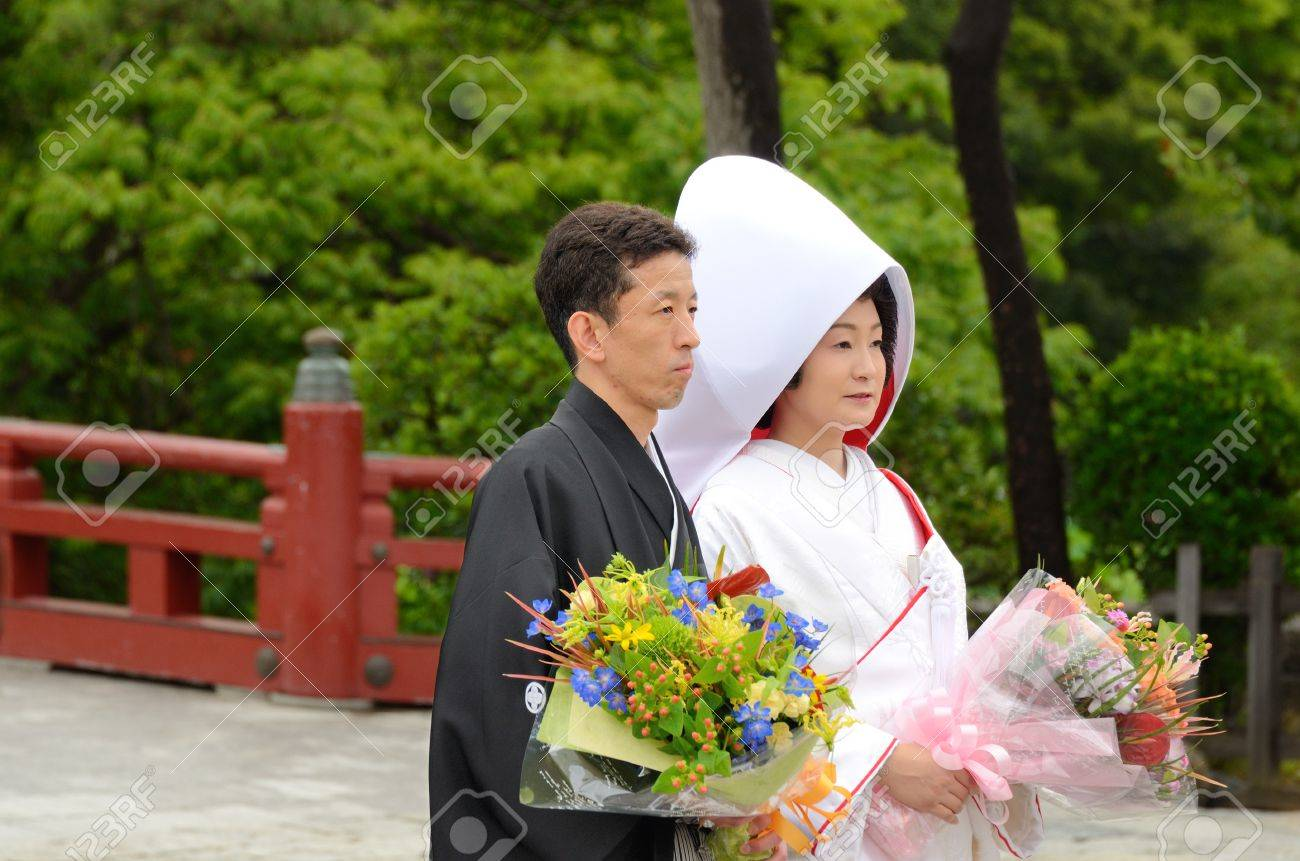 Traditional Japanese Wedding.Kamakura Japan July 19 2011 A Traditional Japanese Wedding