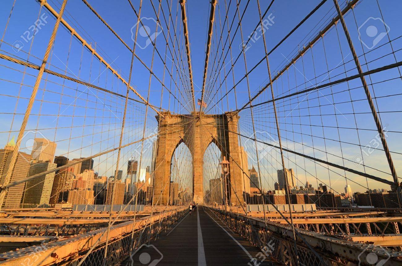 Walkway on the brooklyn bridge in New York City. Stock Photo - 10444559
