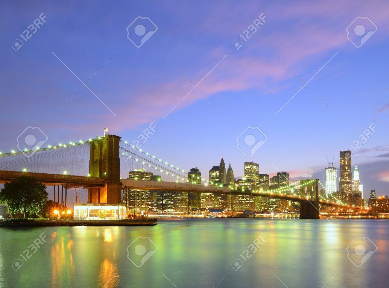 Brooklyn Bridge and Lower Manhattan skyline in New York City. Stock Photo - 10483829