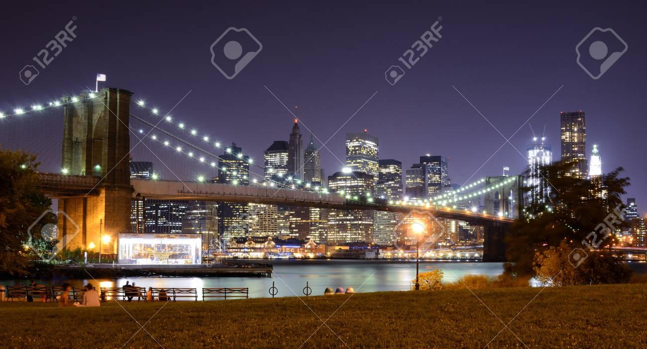 Brooklyn Bridge and Lower Manhattan skyline in New York City. Stock Photo - 10483851