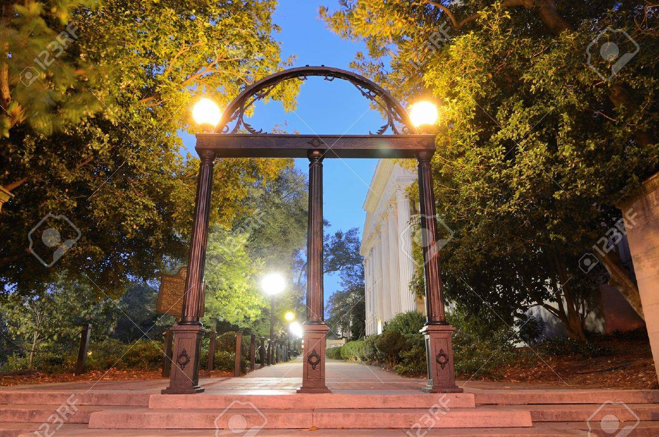 Historic steel archway on the campus of the University of Georgia in Athens, Georgia, USA. Stock Photo - 10710256