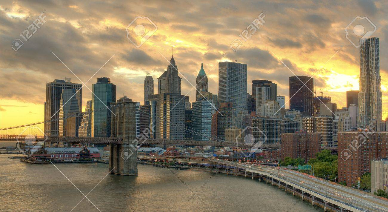 View of Downtown New York City with dramatic clouds. Stock Photo - 10833595
