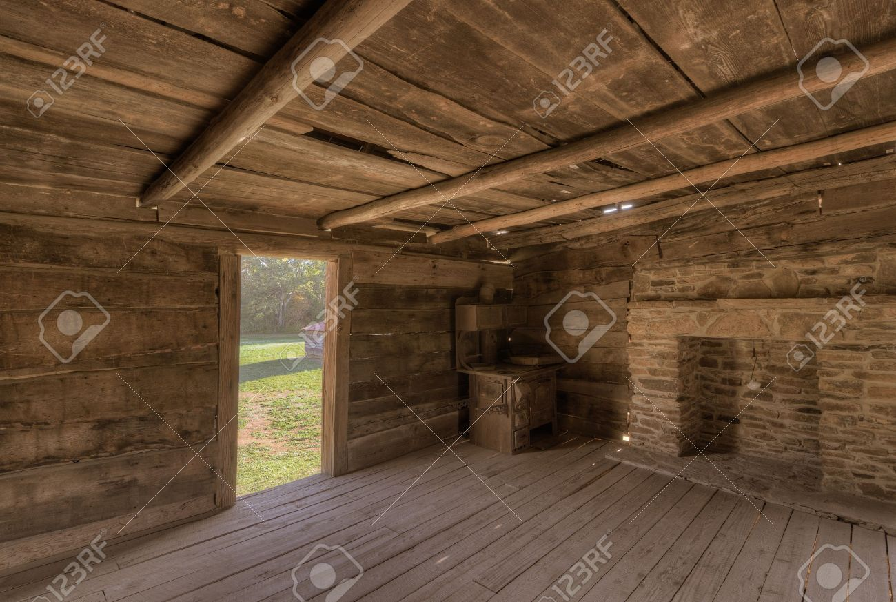Interior Of An Old Log Cabin Stock Photo   11106029
