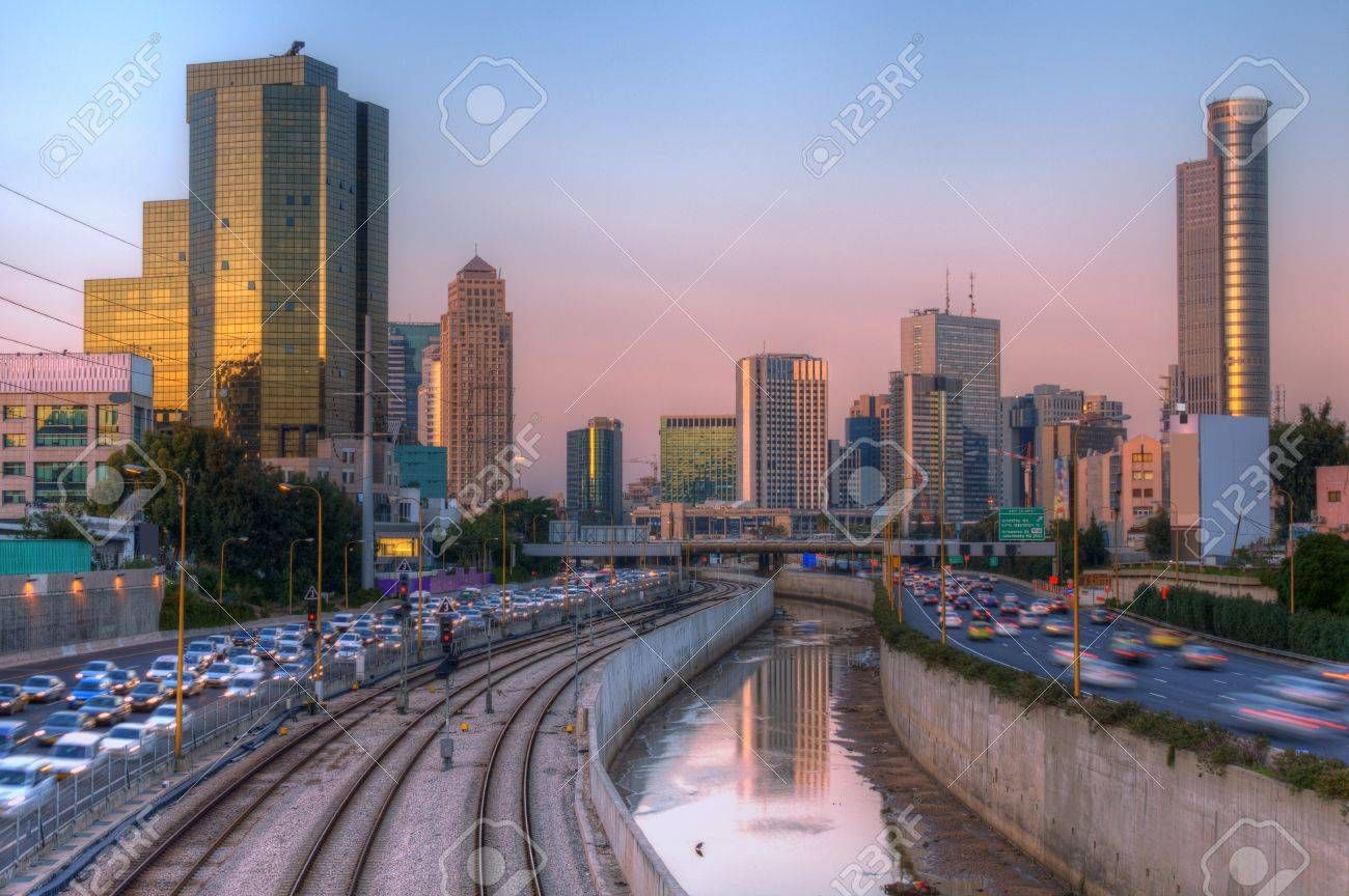 skyline of ramat gan and the ayalon highway the financial