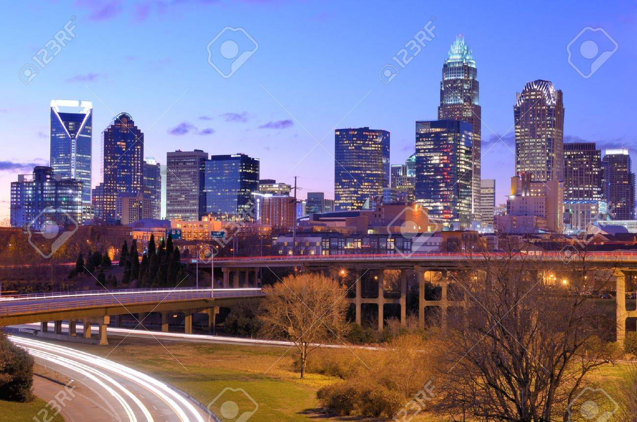 skyline of Uptown, the Financial District of Charlotte, North Carolina Stock Photo - 12745005