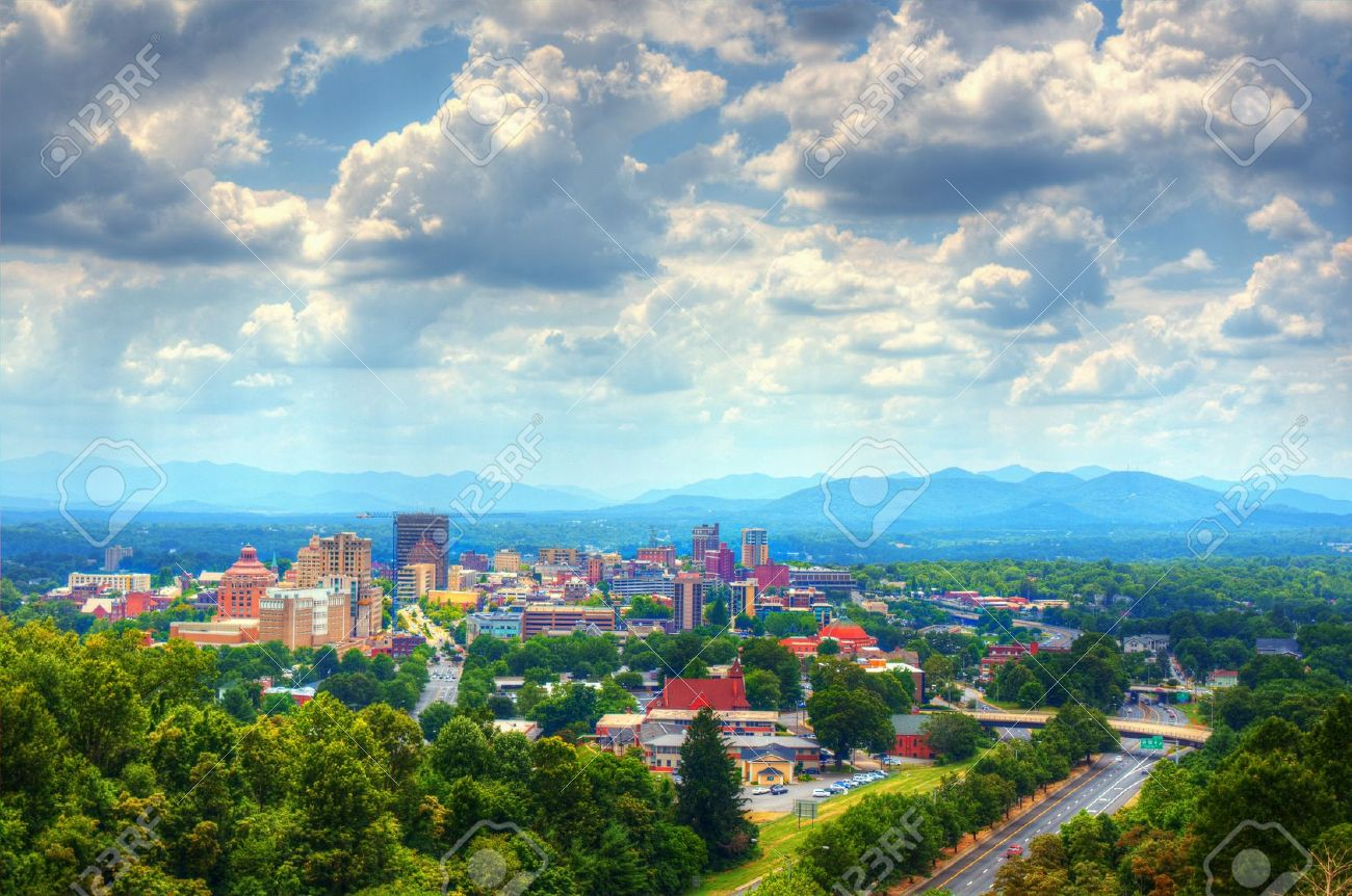 Asheville North Carolina Skyline Nestled In The Blue Ridge Mountains