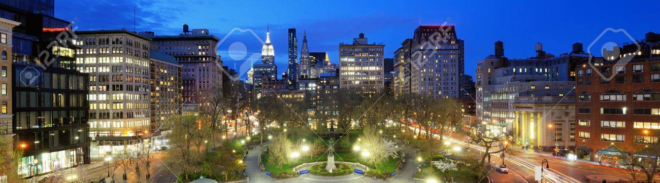 Union Square in New York, New York, USA. The Commissioners' Plan of 1811 created such an awkward angle at the location that a square was preferred over buildings. Stock Photo - 19276077