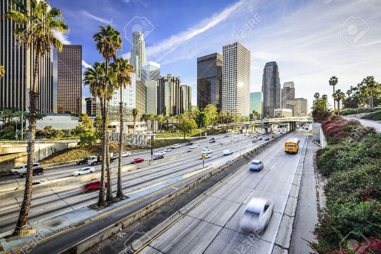 los angeles california usa downtown cityscape stock photo