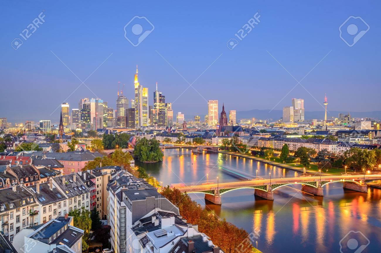 Frankfurt, Germany city skyline over the Main River. - 36657846