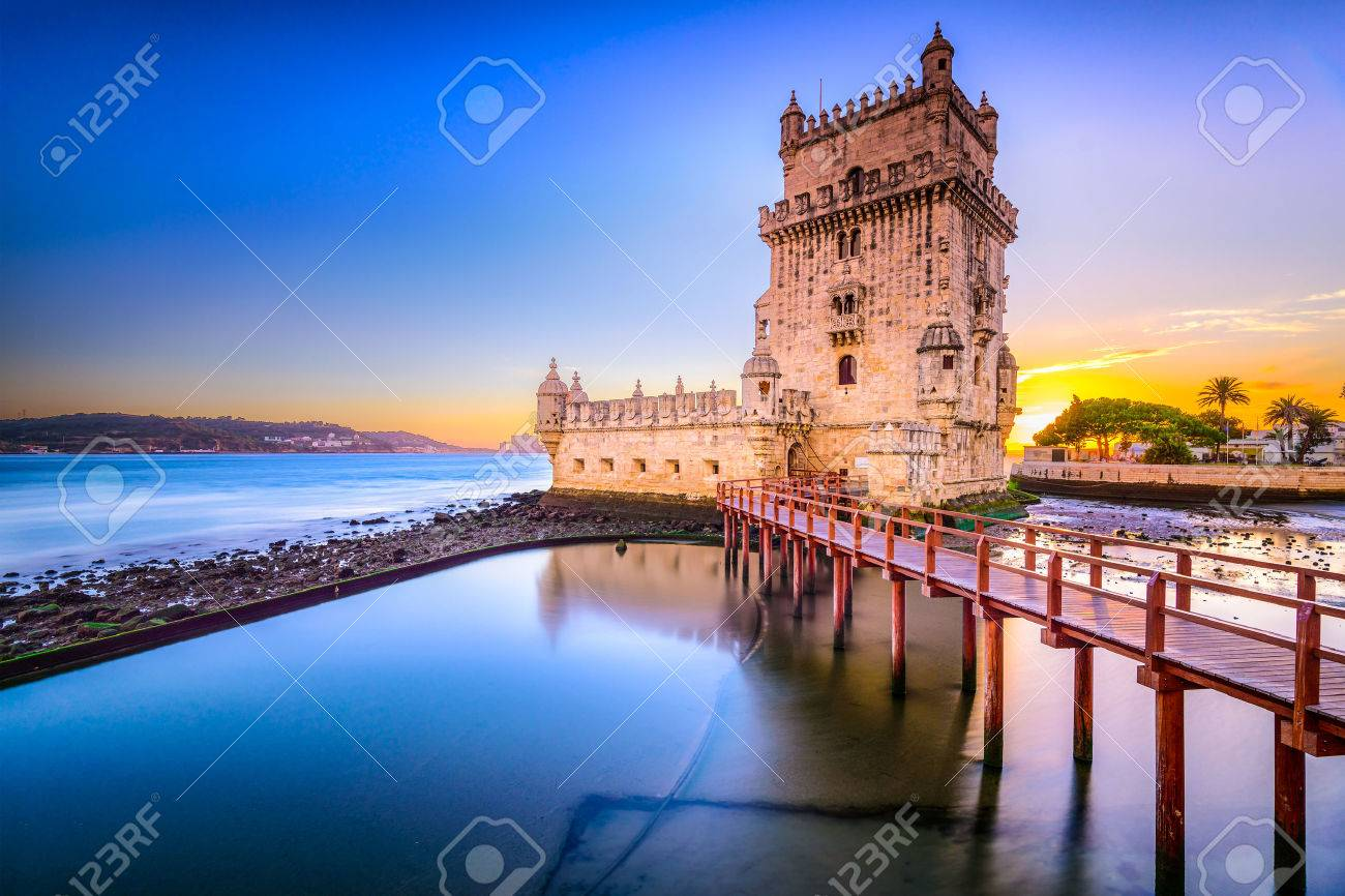 Lisbon, Portugal at Belem Tower on the Tagus River. - 36657864