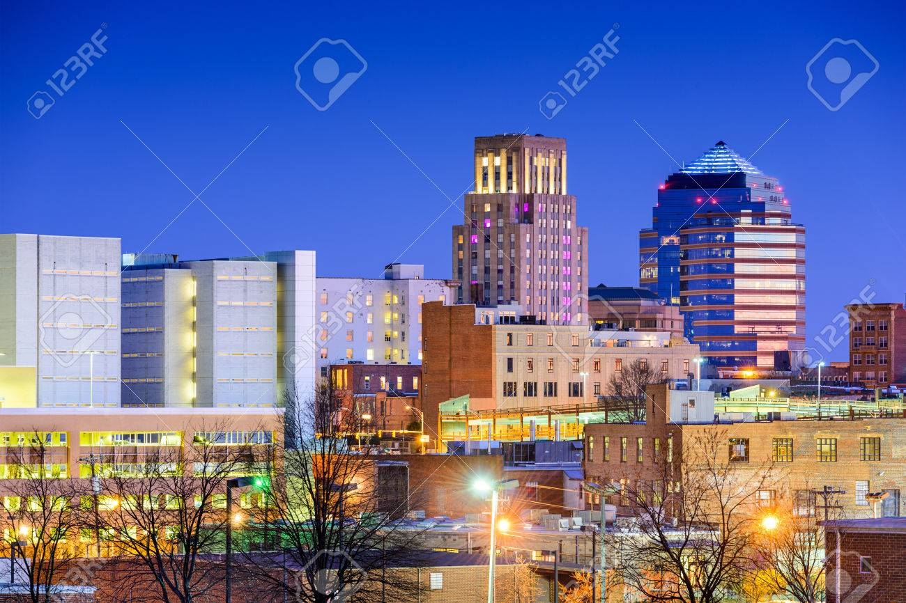 Durham North Carolina Usa Downtown City Skyline Stock Photo