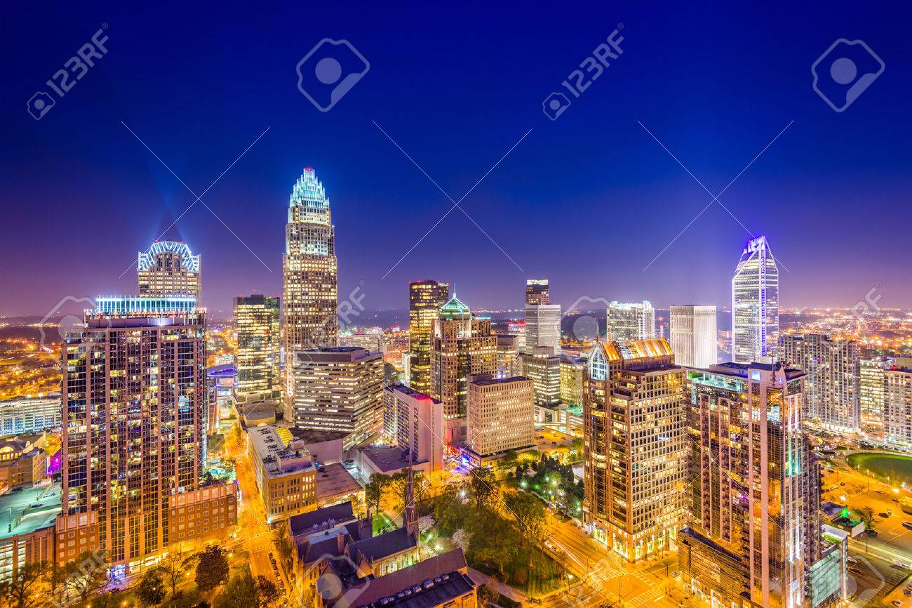 Charlotte, North Carolina, USA uptown skyline at night. - 41067485